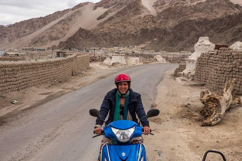 Riding my motorbike around Leh, India
